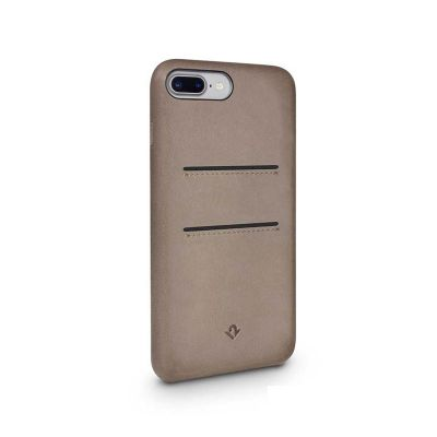 TwelveSouth Relaxed Leather Clip, with pockets, for iPhone 6 Plus/6s Plus/7 Plus/8 Plus - warm taupe.