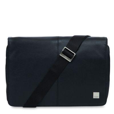 Knomo KINSALE Leather Messenger Bag (Cross Body) 13inch - Black