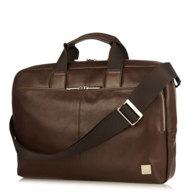 Knomo NEWBURY Full Leather Single Zip Briefcase 15inch - Brown