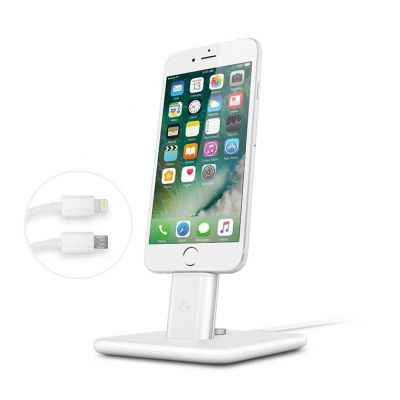 TwelveSouth HiRise Deluxe 2 Desktop Stand for iPhone; Smartphones; incl. Lighting & Micro-USB-cable - white.