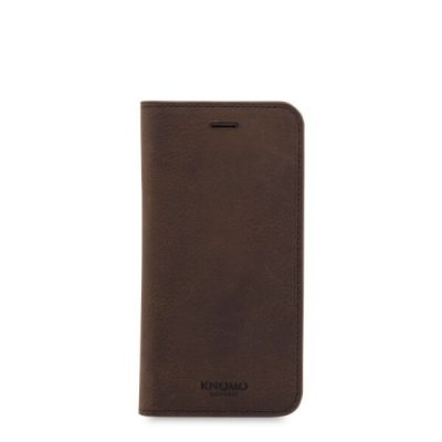 Knomo PREMIUM Leather Folio with moulded shell for iPhone 7/8 - Brown