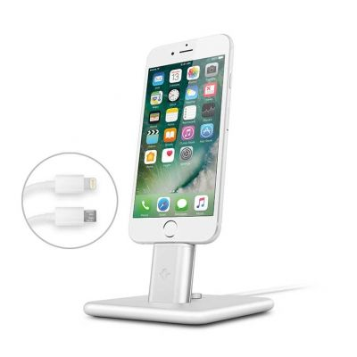 TwelveSouth HiRise Deluxe 2 Desktop Stand for iPhone; Smartphones; incl. Lighting & Micro-USB-cable -  silver.