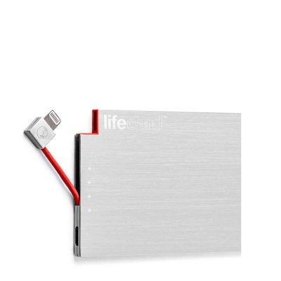 PlusUs LifeCard Ultra-Portable PowerBank 1500 mAh Fits in card slot Lightning - Silver