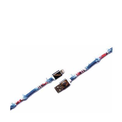 PlusUs LifeStar Premium Handcrafted USB Charge & Sync cable (1m) Lightning - Medium Blue / Light Grey